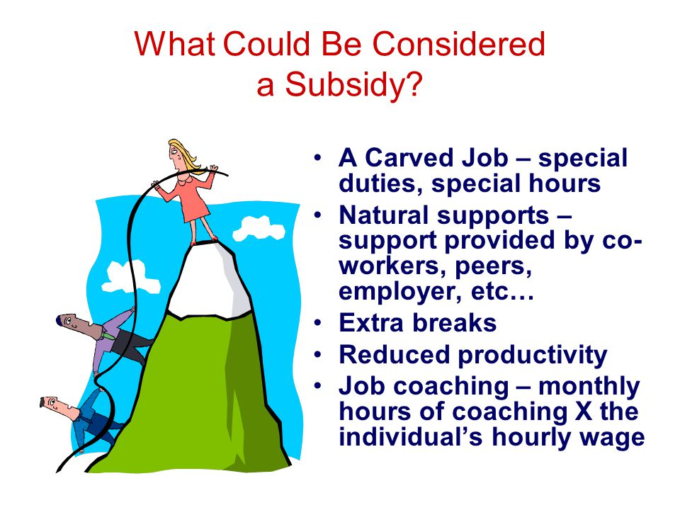 What Could Be Considered a Subsidy? A Carved Job – special duties, special hours Natural supports – support provided by co- workers, peers, employer,