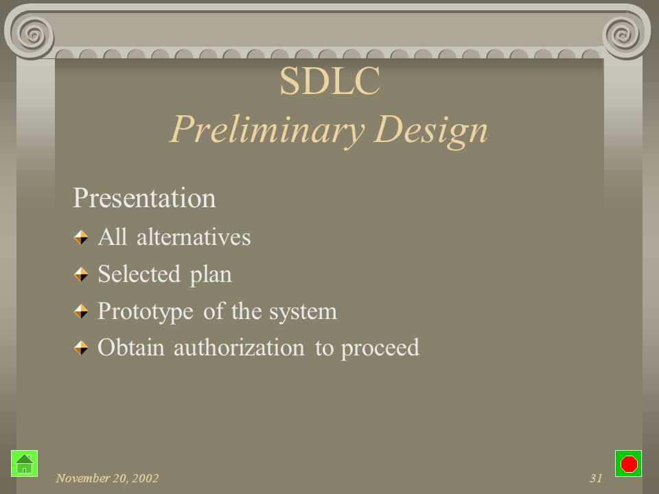 November 20, 200230 SDLC Preliminary Design CASE tools Computer-Aided Software Engineering Supports specific analysis and design tasks Integrated environment that supports the entire systems development process