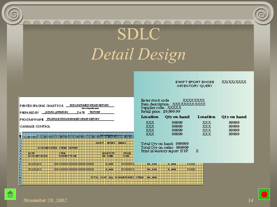 November 20, 200233 SDLC Detail Design Output requirements Medium Type of reports Contents