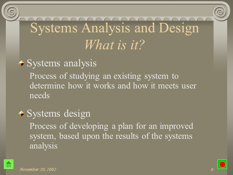 November 20, 200228 SDLC Preliminary Design Create an overall plan Offer alternatives that meet requirements Explain differences Evaluate costs