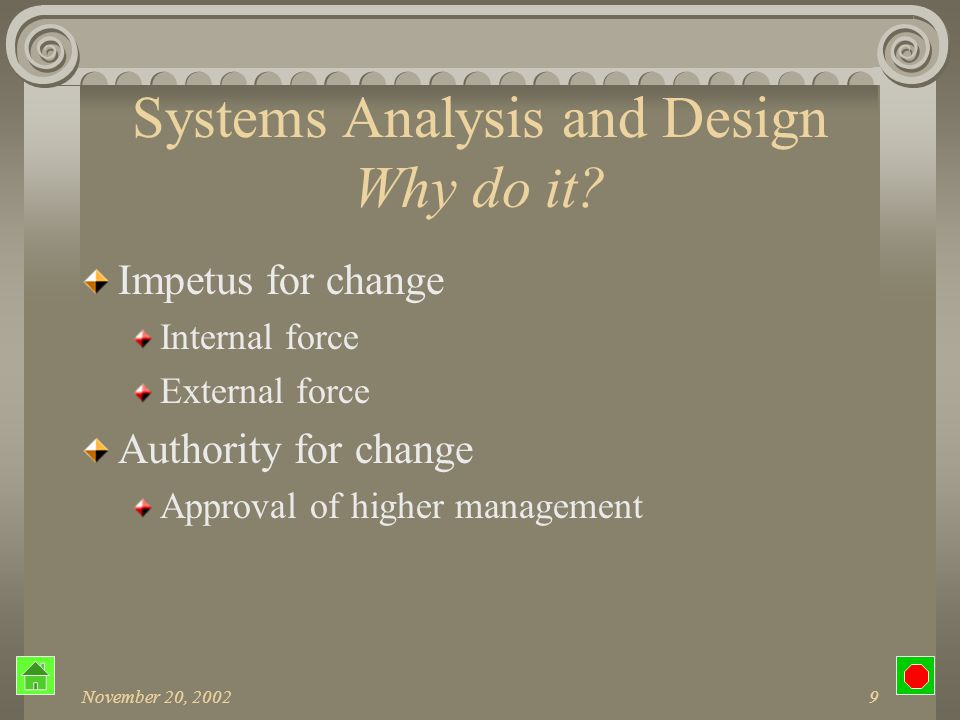 November 20, 200239 SDLC Detail Design Systems Controls and Backup Insure that input is processed correctly Prevent fraud and tampering System journals Backup of system files