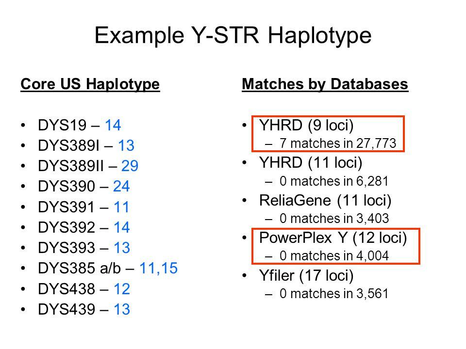 Example Y-STR Haplotype Core US Haplotype DYS19 – 14 DYS389I – 13 DYS389II – 29 DYS390 – 24 DYS391 – 11 DYS392 – 14 DYS393 – 13 DYS385 a/b – 11,15 DYS