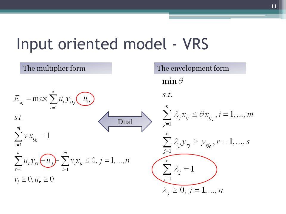 Input oriented model - VRS The multiplier formThe envelopment form 11 Dual