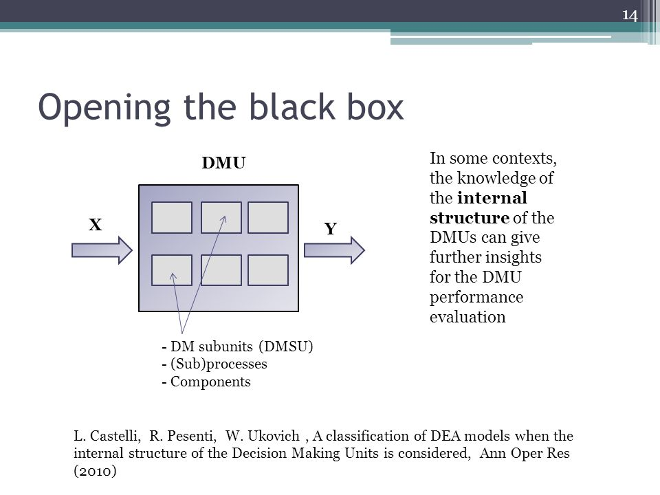 Opening the black box DMU X Y - DM subunits (DMSU) - (Sub)processes - Components In some contexts, the knowledge of the internal structure of the DMUs