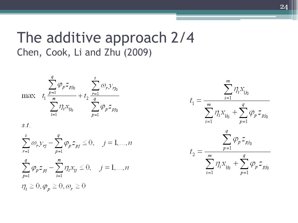 The additive approach 2/4 Chen, Cook, Li and Zhu (2009) 24