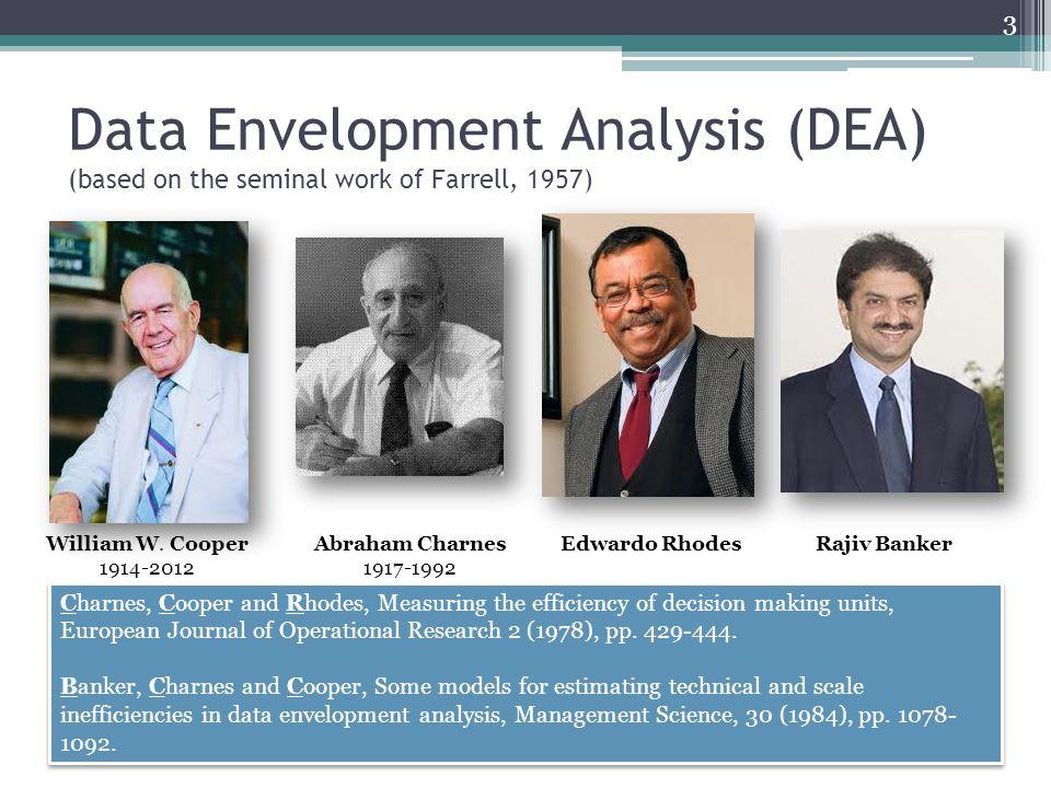 Data Envelopment Analysis (DEA) (based on the seminal work of Farrell, 1957) William W. Cooper 1914-2012 Abraham Charnes 1917-1992 Edwardo Rhodes Char