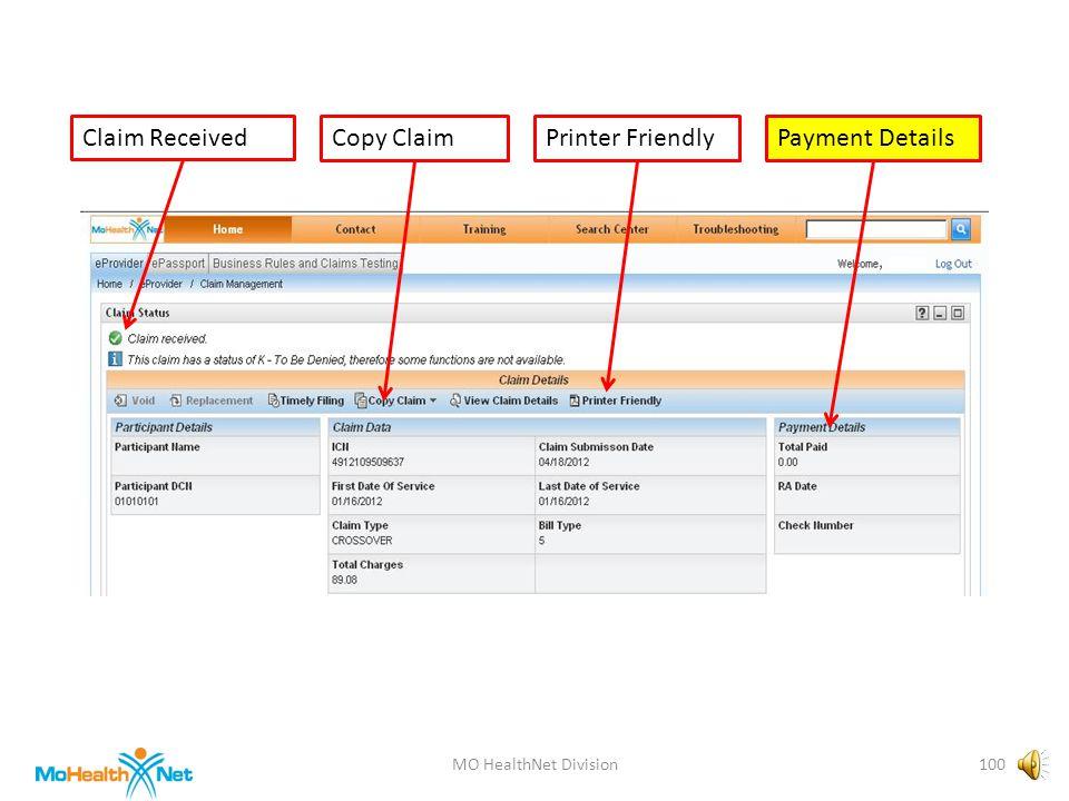MO HealthNet Division99 Claim ReceivedCopy ClaimPayment DetailsPrinter Friendly