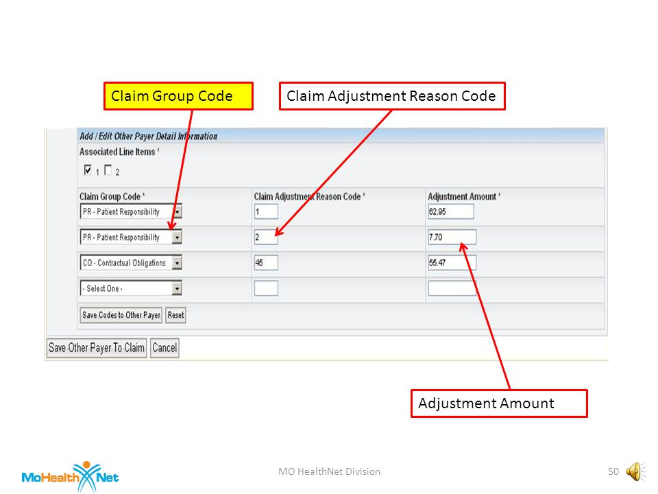 MO HealthNet Division49 Associated Line Items Claim Group CodeClaim Adjustment Reason Code Adjustment Amount