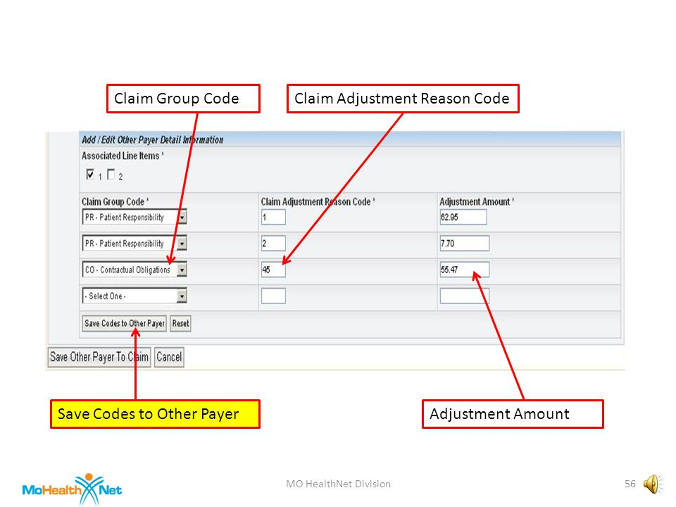 MO HealthNet Division55 Claim Group CodeClaim Adjustment Reason Code Adjustment Amount