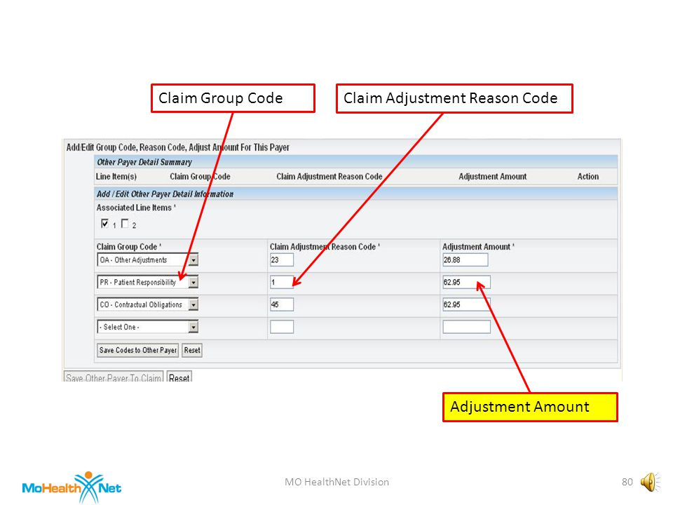 MO HealthNet Division79 Claim Group CodeClaim Adjustment Reason Code Adjustment Amount