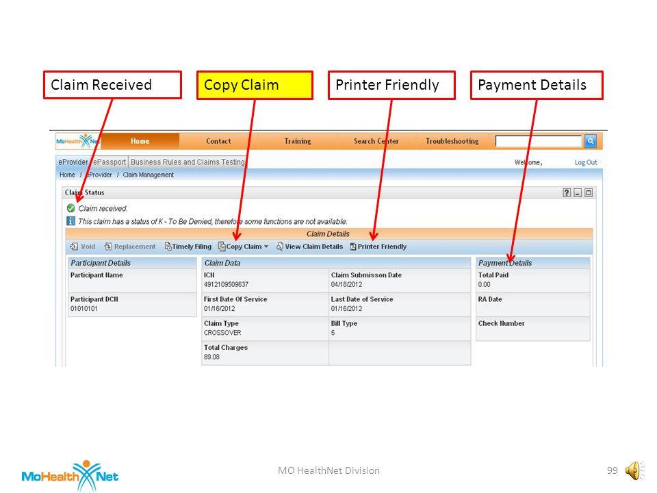 MO HealthNet Division98 Claim ReceivedCopy ClaimPayment DetailsPrinter Friendly