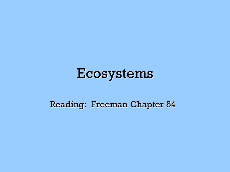Ecosystems Reading: Freeman Chapter 54