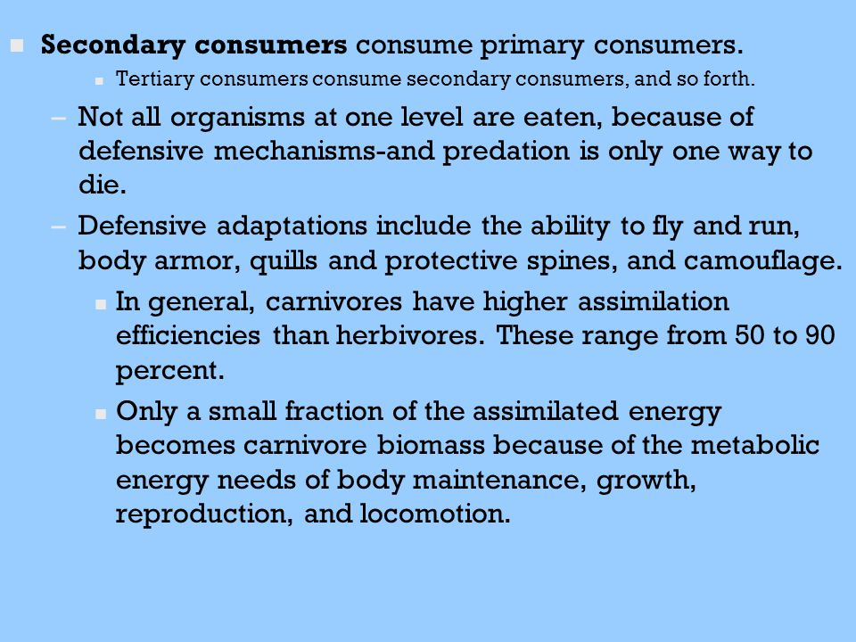 n n Secondary consumers consume primary consumers. n n Tertiary consumers consume secondary consumers, and so forth. – –Not all organisms at one level