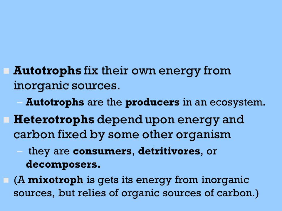 n n Autotrophs fix their own energy from inorganic sources. – –Autotrophs are the producers in an ecosystem. n n Heterotrophs depend upon energy and c