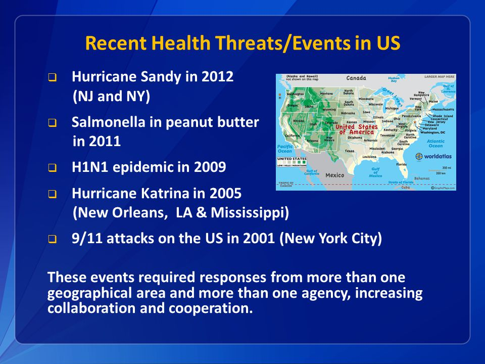 Recent Health Threats/Events in US  Hurricane Sandy in 2012 (NJ and NY)  Salmonella in peanut butter in 2011  H1N1 epidemic in 2009  Hurricane Katrina in 2005 (New Orleans, LA & Mississippi)  9/11 attacks on the US in 2001 (New York City) These events required responses from more than one geographical area and more than one agency, increasing collaboration and cooperation.