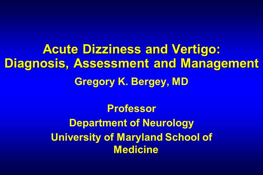 Gregory Bergey, MD Medications for Acute Vertigo DrugDosageRoute Dimenhydramine50 - 100 mg qidPO, IM, IV, PR Diphenhydramine25 - 50 mg tid to qidPO, IM, IV Meclizine12.5 - 25 mg bid to qidPO Promethazine25 mg bid to qidPO, IM, IV, PR Hydroxyzine25 - 100 mg tid to qidPO, IM (adapted from Lerner, 1995)