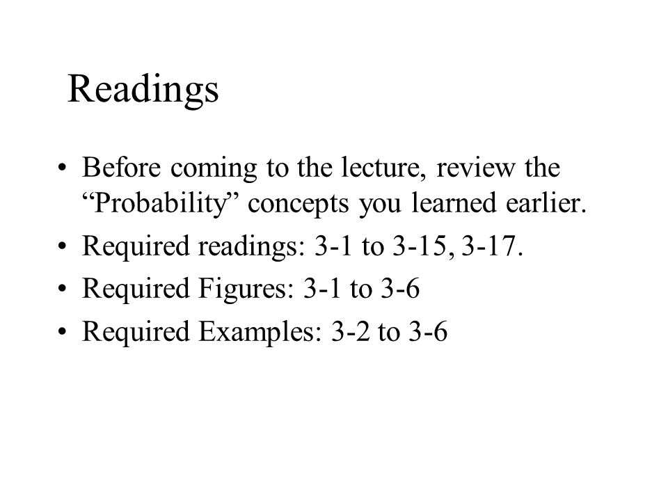 """Readings Before coming to the lecture, review the """"Probability"""" concepts you learned earlier. Required readings: 3-1 to 3-15, 3-17. Required Figures:"""