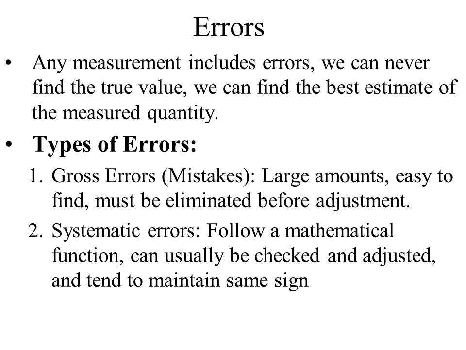 Errors Any measurement includes errors, we can never find the true value, we can find the best estimate of the measured quantity. Types of Errors: 1.G