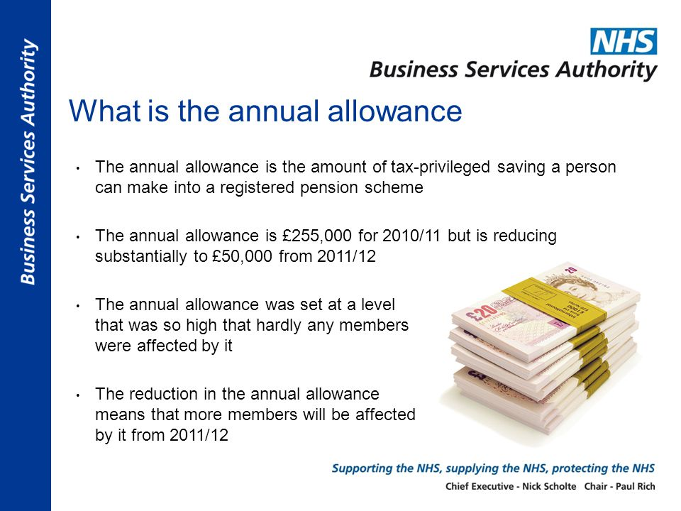 What is the annual allowance The annual allowance is the amount of tax-privileged saving a person can make into a registered pension scheme The annual allowance is £255,000 for 2010/11 but is reducing substantially to £50,000 from 2011/12 The annual allowance was set at a level that was so high that hardly any members were affected by it The reduction in the annual allowance means that more members will be affected by it from 2011/12