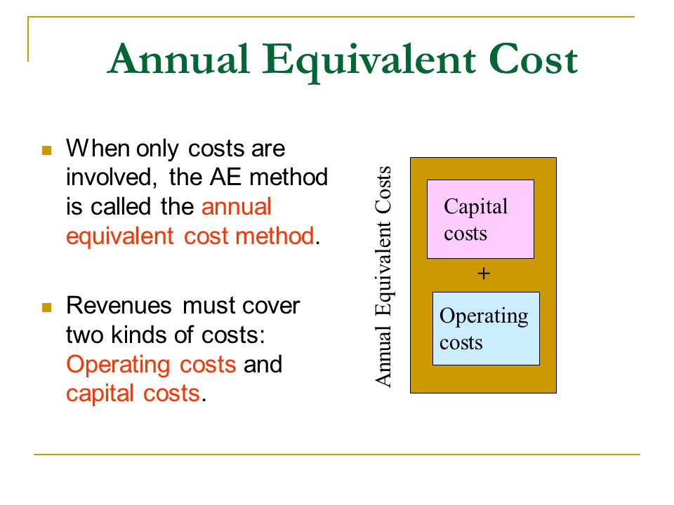 Annual Equivalent Cost When only costs are involved, the AE method is called the annual equivalent cost method.