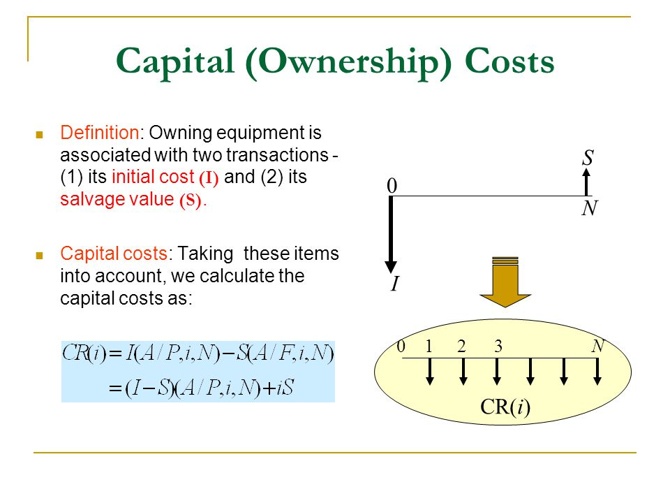 Capital (Ownership) Costs Definition: Owning equipment is associated with two transactions - (1) its initial cost (I) and (2) its salvage value (S).