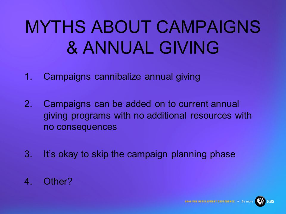 18 MYTHS ABOUT CAMPAIGNS & ANNUAL GIVING 1.Campaigns cannibalize annual giving 2.Campaigns can be added on to current annual giving programs with no additional resources with no consequences 3.It's okay to skip the campaign planning phase 4.Other
