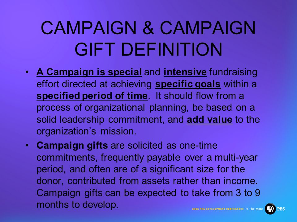 5 TYPES OF CAMPAIGNS Capital Campaign: goals for capital purposes, ie.