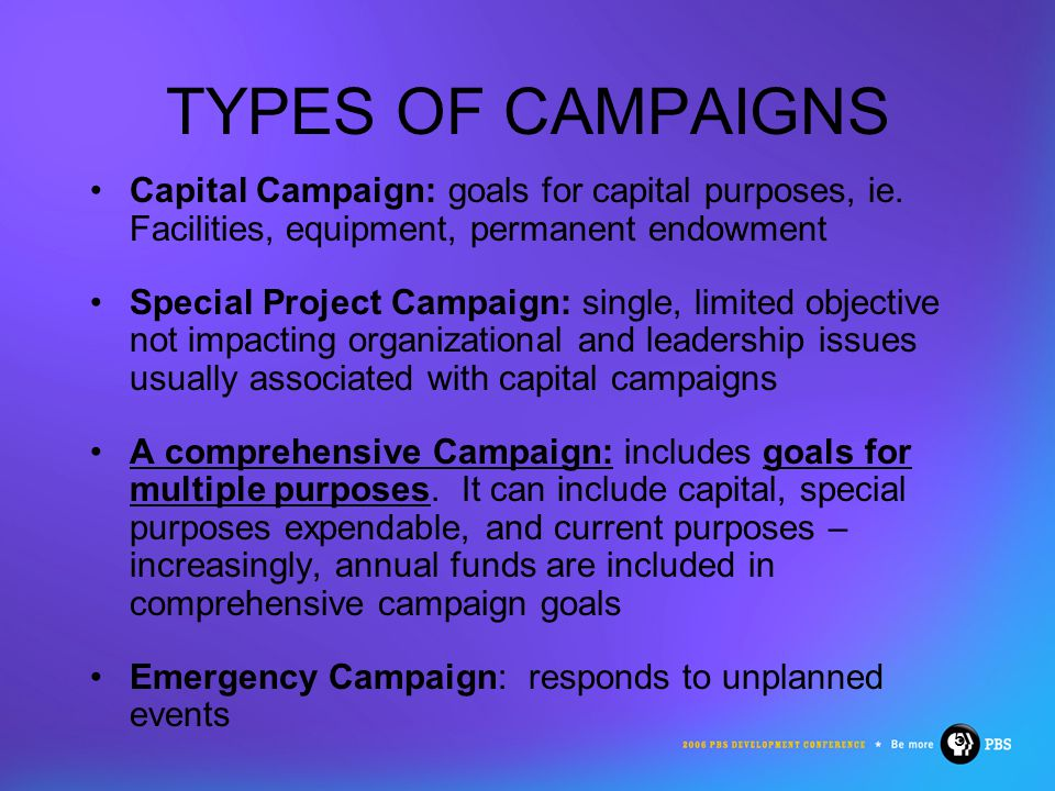16 A CLEAR & COMPELLING CASE FOR SUPPORT For Campaign: One-time investment helps to propel organization to new level For Annual Support: Ongoing support helps to ensure mission carries forward into future