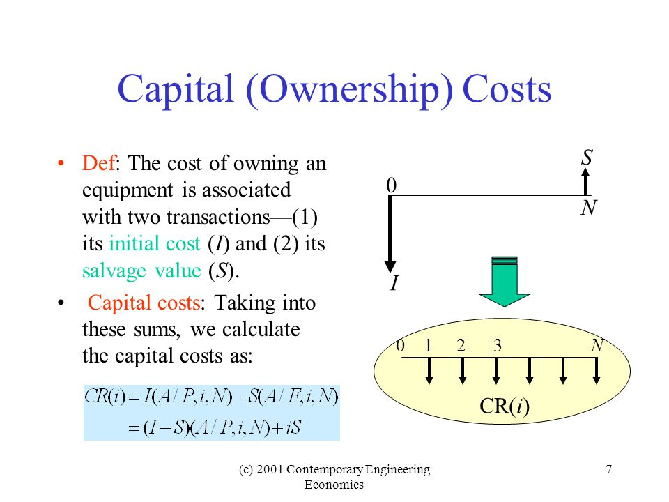 (c) 2001 Contemporary Engineering Economics 7 Capital (Ownership) Costs Def: The cost of owning an equipment is associated with two transactions—(1) its initial cost (I) and (2) its salvage value (S).