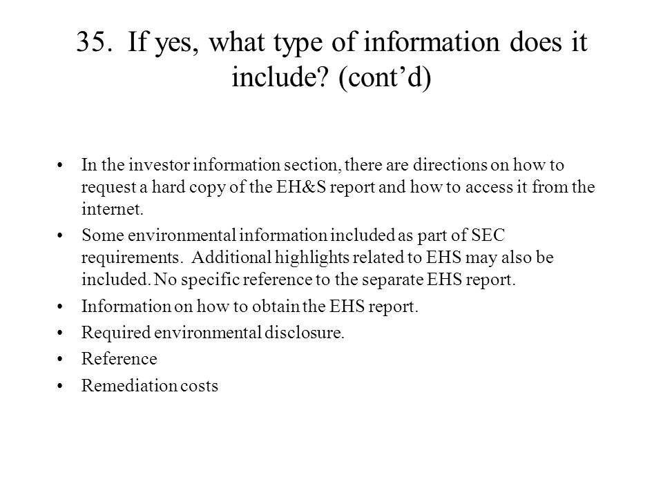 35. If yes, what type of information does it include.