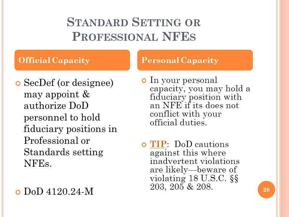 S TANDARD S ETTING OR P ROFESSIONAL NFE S SecDef (or designee) may appoint & authorize DoD personnel to hold fiduciary positions in Professional or St