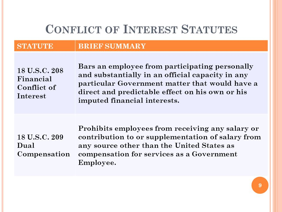 STATUTEBRIEF SUMMARY 18 U.S.C. 208 Financial Conflict of Interest Bars an employee from participating personally and substantially in an official capa