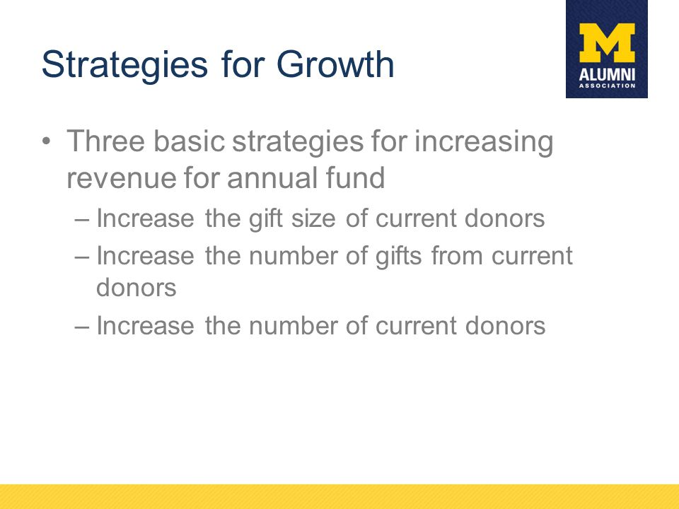 Strategies for Growth Three basic strategies for increasing revenue for annual fund –Increase the gift size of current donors –Increase the number of