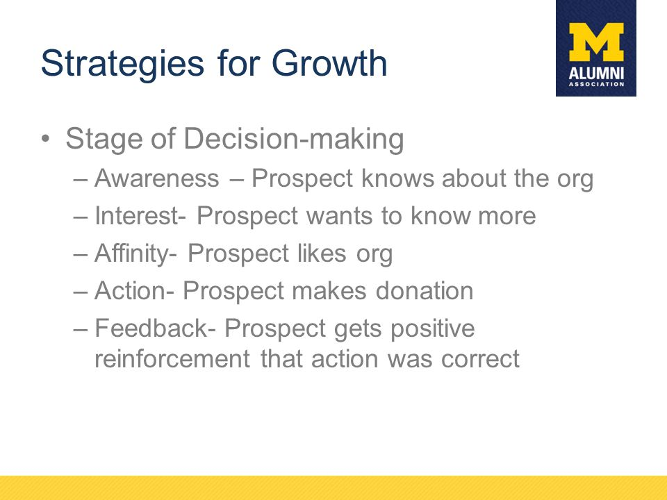 Strategies for Growth Stage of Decision-making –Awareness – Prospect knows about the org –Interest- Prospect wants to know more –Affinity- Prospect li