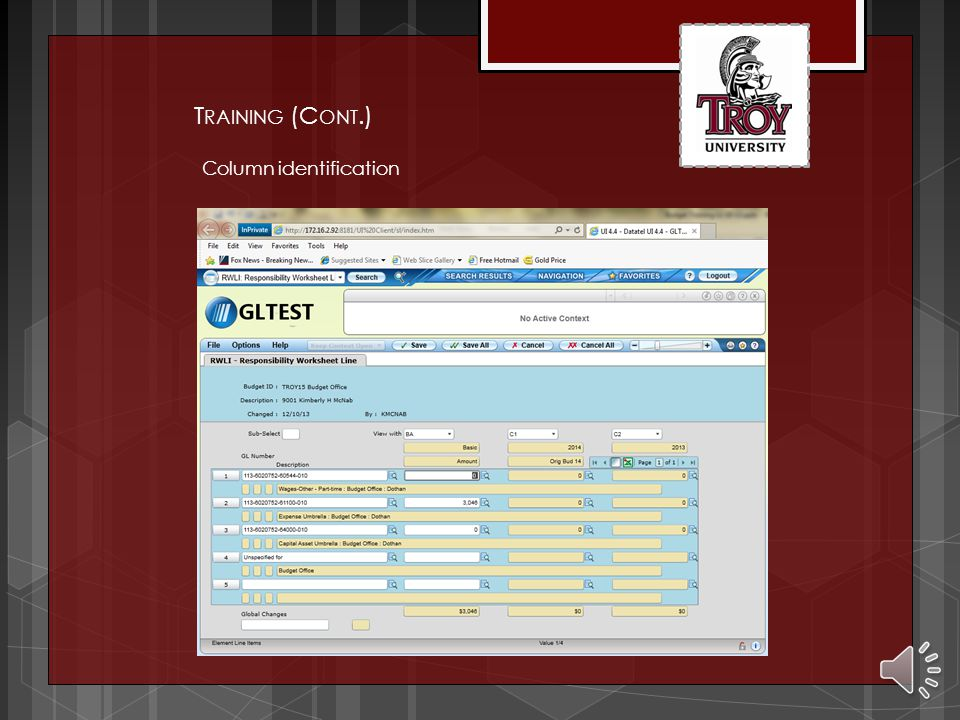 Budget ID is TROYxx T RAINING (C ONT.)