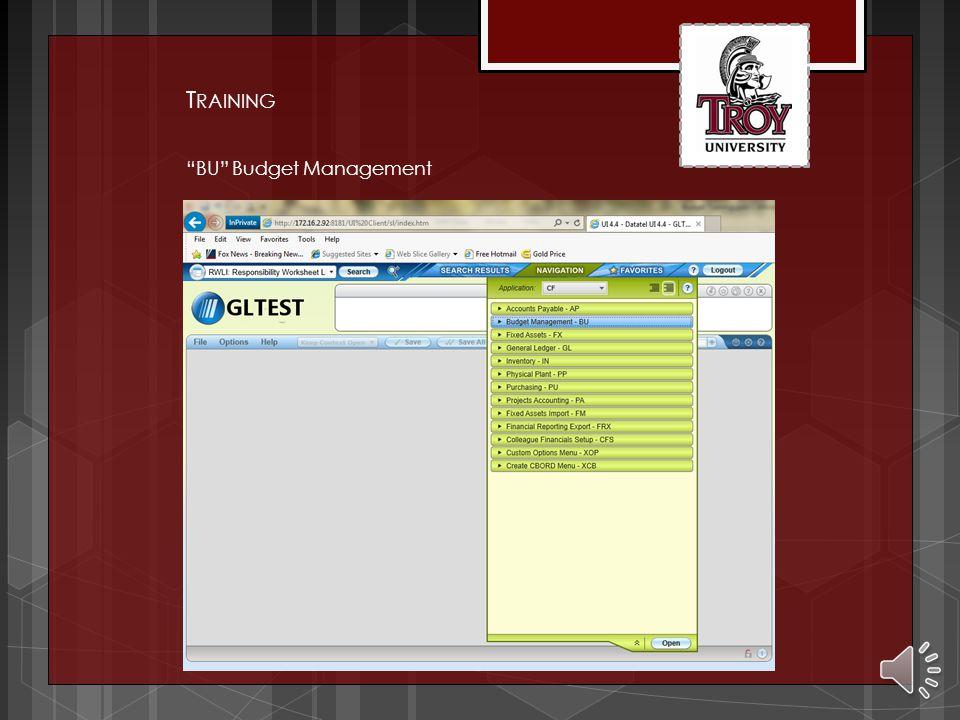 T RAINING BU Budget Management