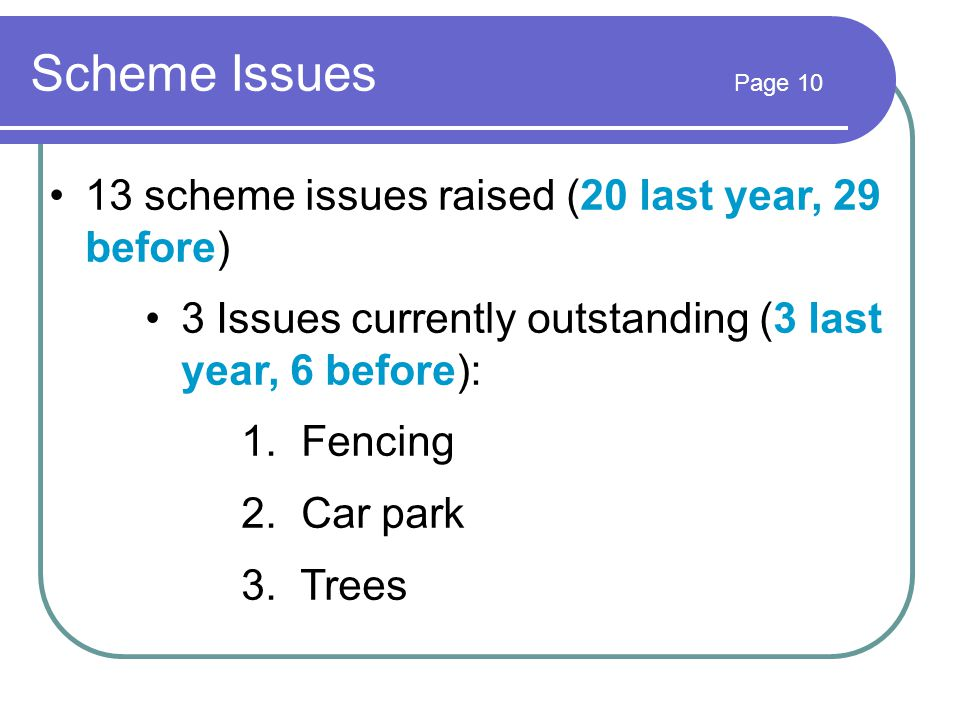 Scheme Issues Page 10 13 scheme issues raised (20 last year, 29 before) 3 Issues currently outstanding (3 last year, 6 before): 1.
