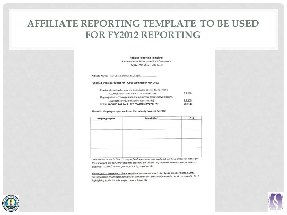 AFFILIATE REPORTING TEMPLATE TO BE USED FOR FY2012 REPORTING