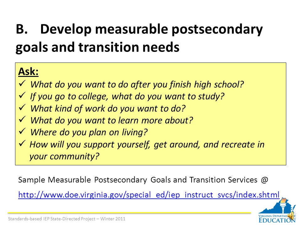 Standards-based IEP State-Directed Project – Winter 2011 Sample: Functional Goal