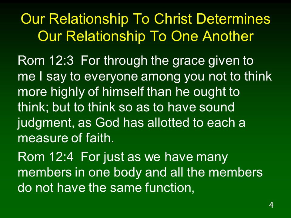 4 Our Relationship To Christ Determines Our Relationship To One Another Rom 12:3 For through the grace given to me I say to everyone among you not to