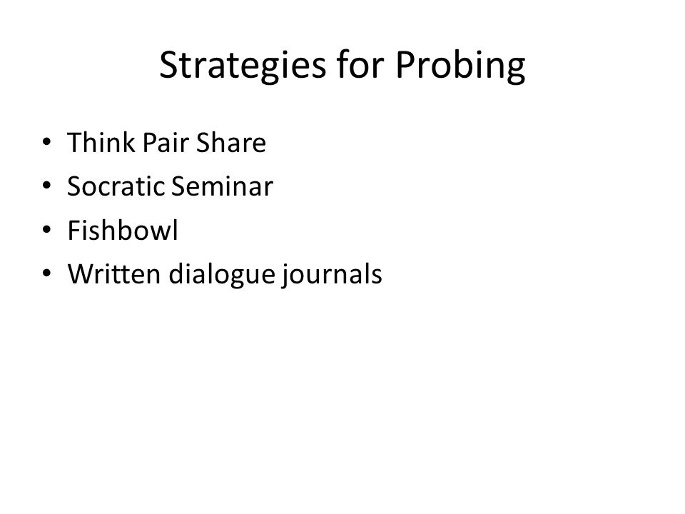 Strategies for Probing Think Pair Share Socratic Seminar Fishbowl Written dialogue journals
