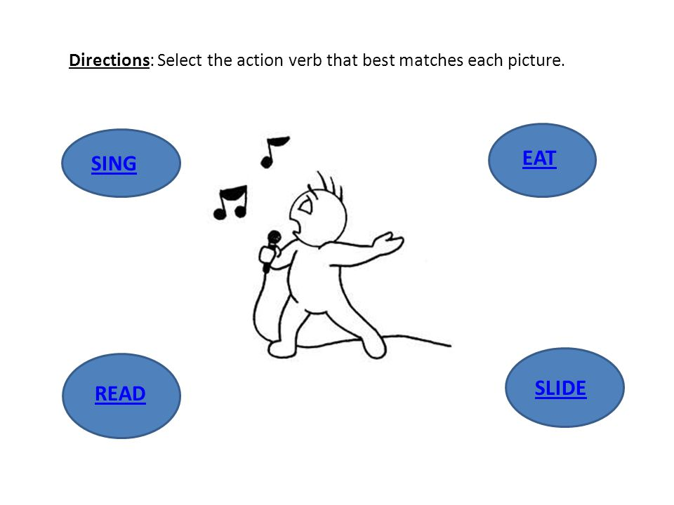 Directions: Select the action verb that best matches each picture. EAT READ SING SLIDE