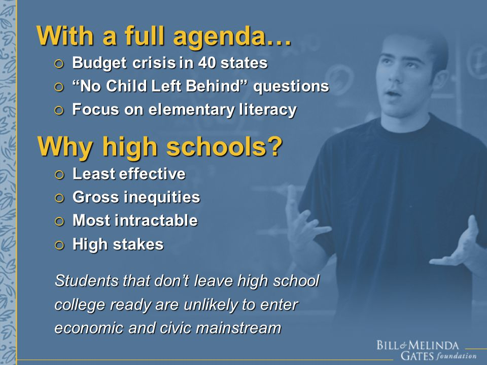  Budget crisis in 40 states  No Child Left Behind questions  Focus on elementary literacy With a full agenda… Why high schools.