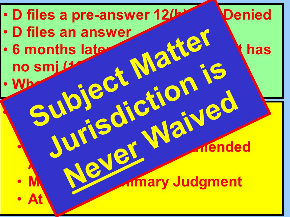 D files a pre-answer 12(b)(3) -- Denied D files an answer 6 months later, realizes that court has no smj (12(b)(1)) What can D do.