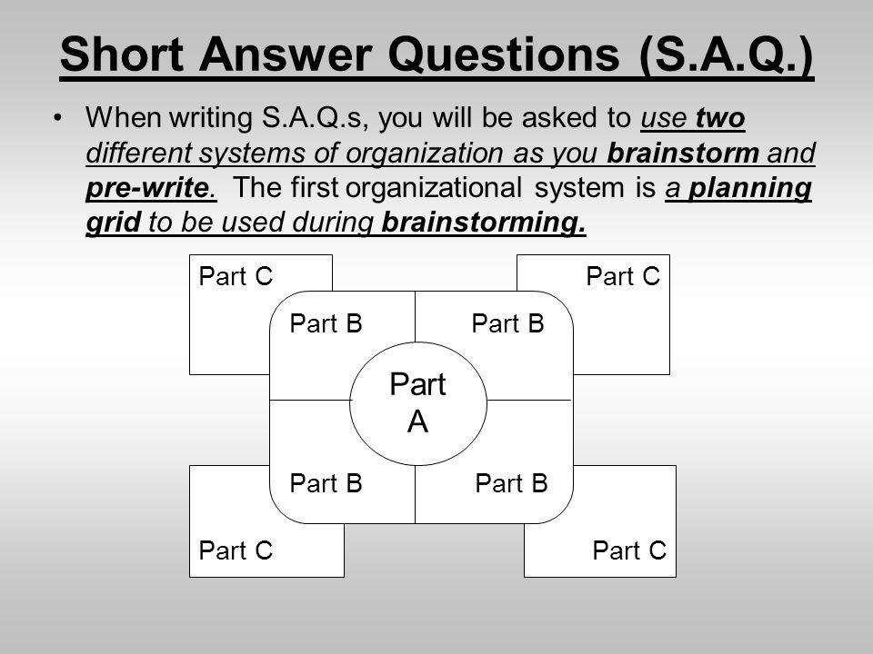 Part C Short Answer Questions (S.A.Q.) When writing S.A.Q.s, you will be asked to use two different systems of organization as you brainstorm and pre-