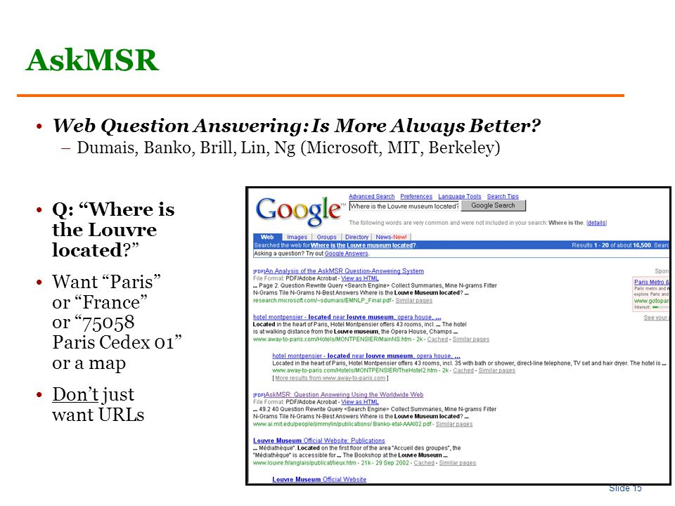 Slide 15 AskMSR Web Question Answering: Is More Always Better.