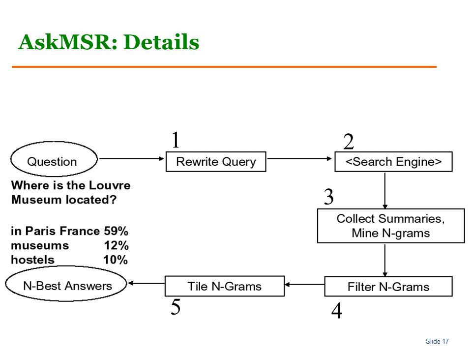 Slide 17 AskMSR: Details 1 2 3 4 5