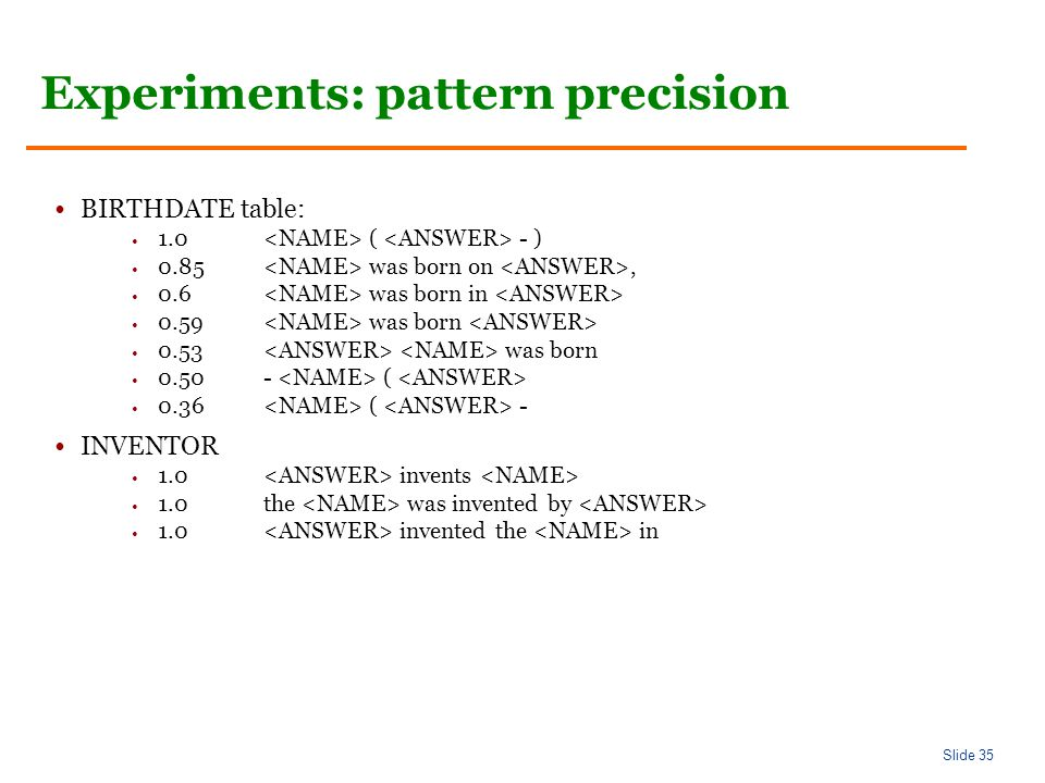 Slide 35 Experiments: pattern precision BIRTHDATE table: 1.0 ( - ) 0.85 was born on, 0.6 was born in 0.59 was born 0.53 was born ( 0.36 ( - INVENTOR 1.0 invents 1.0the was invented by 1.0 invented the in