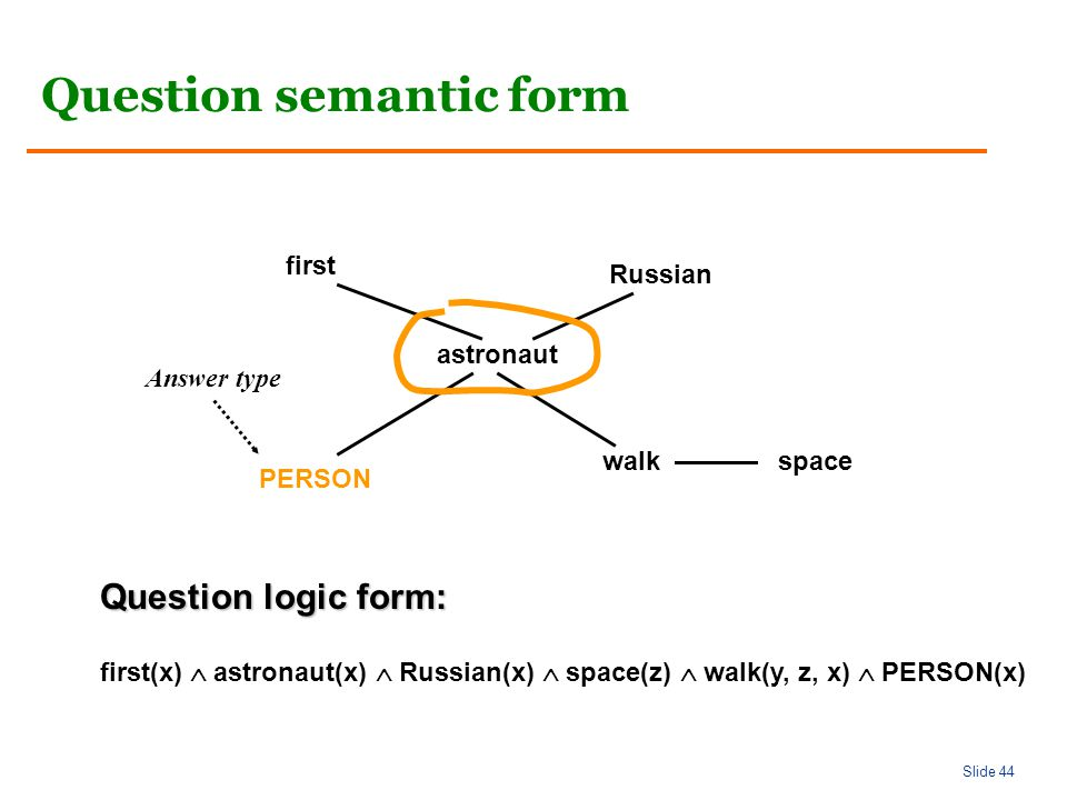 Slide 44 Question semantic form astronaut walkspace Russian first PERSON first(x)  astronaut(x)  Russian(x)  space(z)  walk(y, z, x)  PERSON(x) Question logic form: Answer type