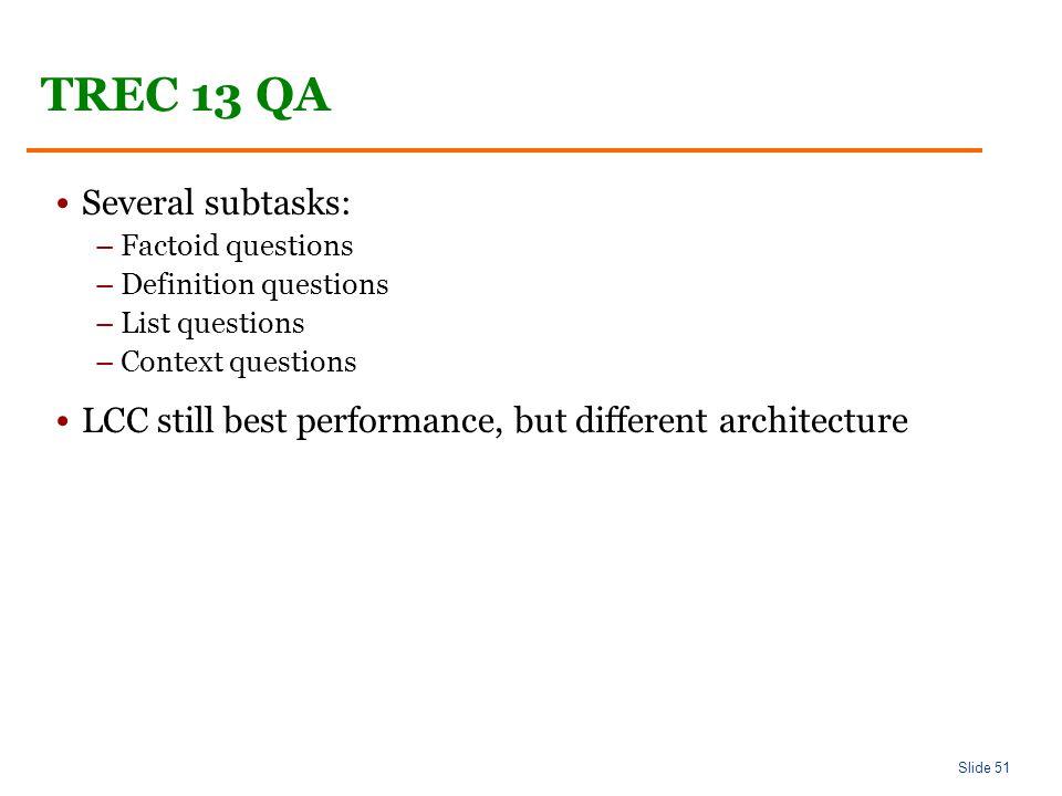 Slide 51 TREC 13 QA Several subtasks: –Factoid questions –Definition questions –List questions –Context questions LCC still best performance, but different architecture